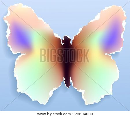 Butterfly made of torn paper,vector illustration