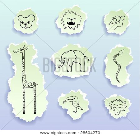 animals, vector doodles on peaces of paper