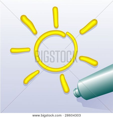 sun, drawing by tube of paint,vector illustration