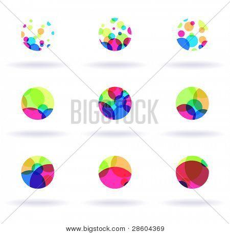 set of nine colorful symbols, vector illustration