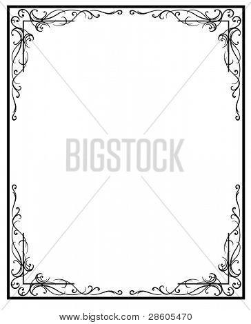 Jahrgang Frame. schwarze silhouette