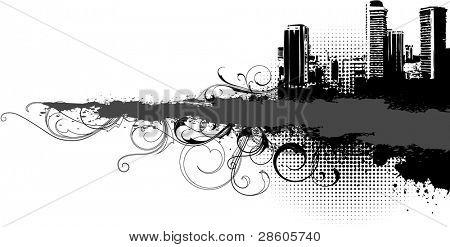 Black banner. Grange style