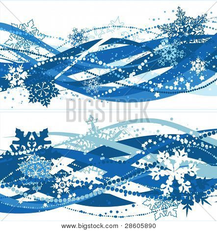 Two christmas compositions with blue snowflakes
