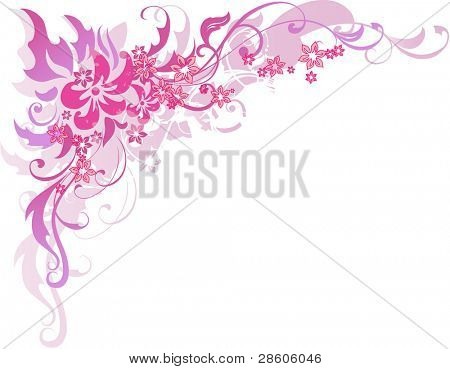 Rose vector composition with flowers
