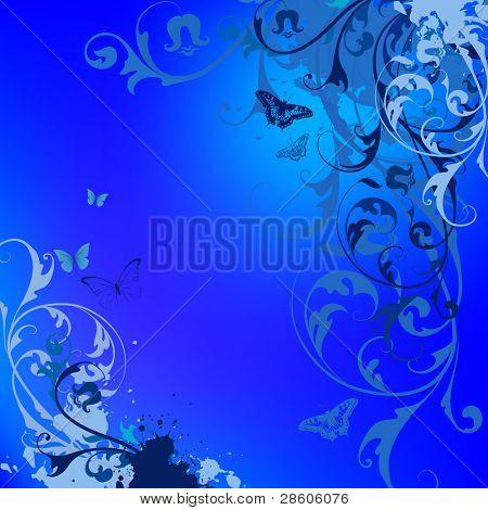 Blue flower vector background