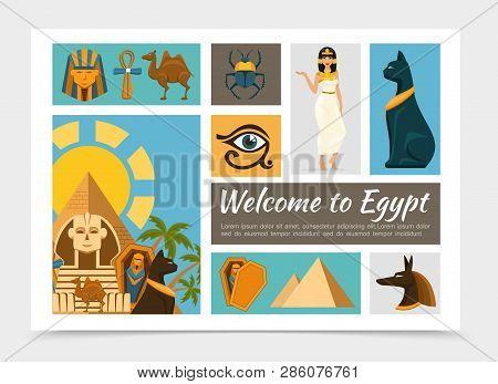 Flat Egypt Elements Set With
