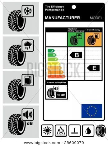 Tire efficiency performance icons and label set.