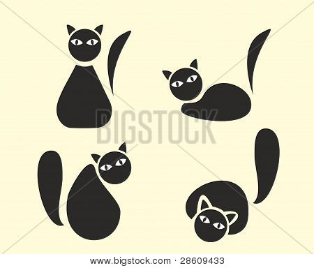 Funny cats silhouette