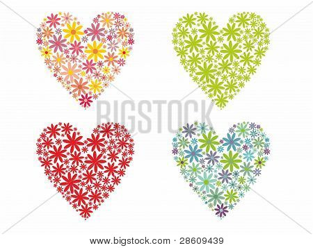 Cute flowered Hearts