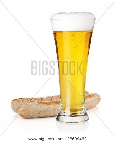 Cold light beer in glass and two grilled sausages. Isolated on white background