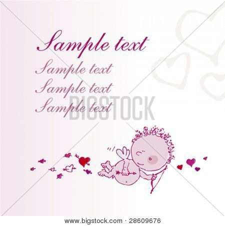 Greeting card with cupid and place for text