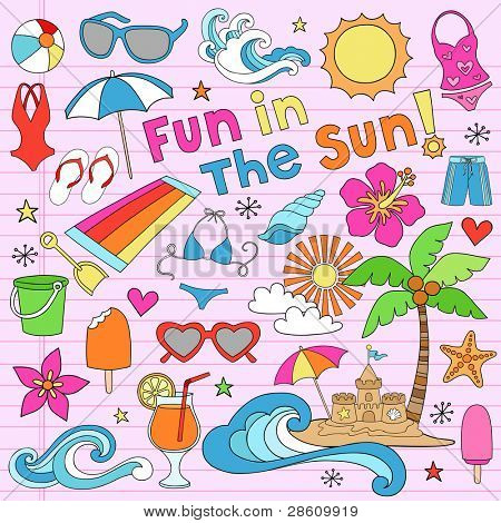 Summer Fun Psychedelic Groovy Notebook Doodle Design Elements Set on Pink Lined Sketchbook Paper Background- Vector Illustration
