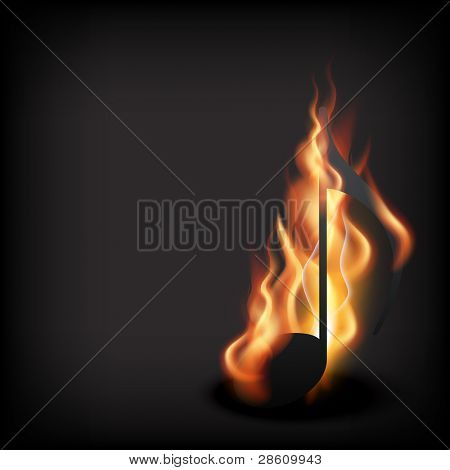 vector music note in burning style