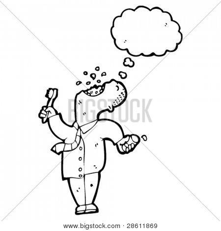 cartoon businessman gargling mouthwash