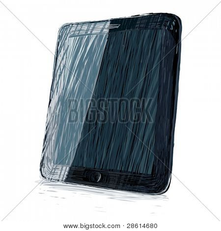 Digital pad vector illustration. All colors and layers editable, for example, labels can be placed in the upper layer in overlay mode