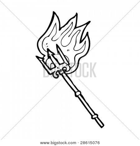 flaming trident cartoon