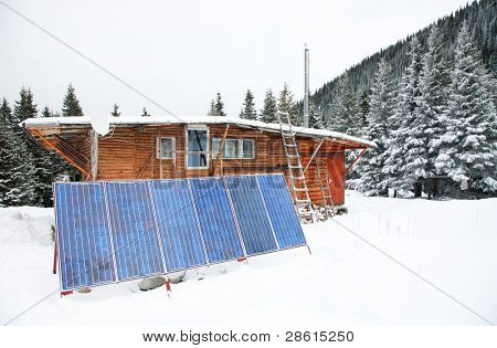 Solar pannel of a mountain chalet