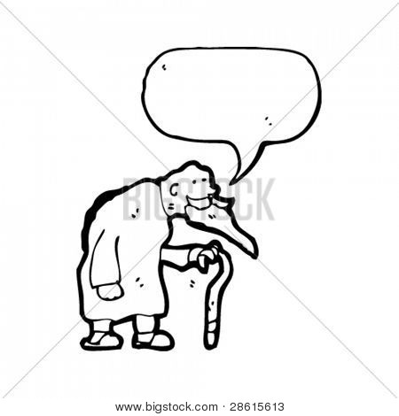 old man with walking stick cartoon