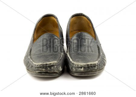 Old Grungy Womens Shoe Isolated On White Background