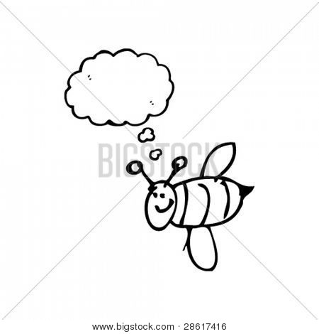 authentic looking child's drawing of a a happy bee