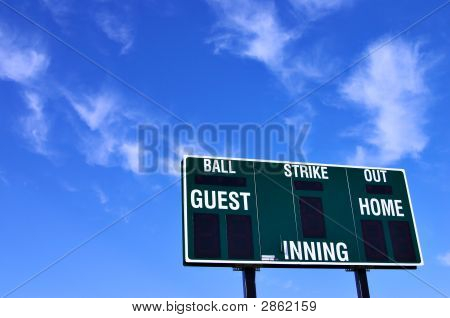 Baseball Scoreboard And Blue Sky