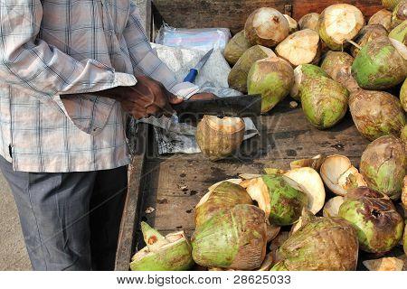 Mann Vorbereitung Kokos