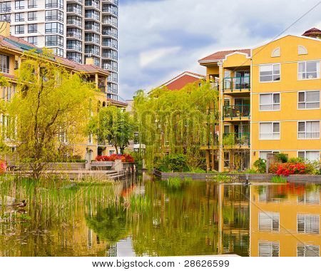 Outdoor landscape garden with pond in New Westminister, Vancouver, British Columbia, Canada.