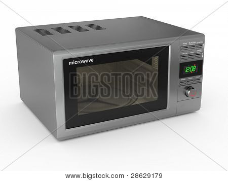 Closed metallic microwave on white background. 3d