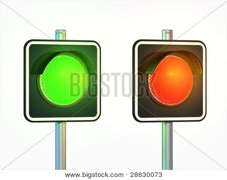 Red and green traffic lights over a white background. Digital illustration, clipping path included.