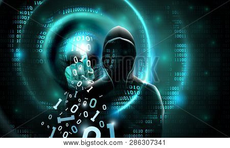 Computer Hacker With A Hood