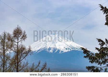 Closeup Snow Covered Mount Fuji