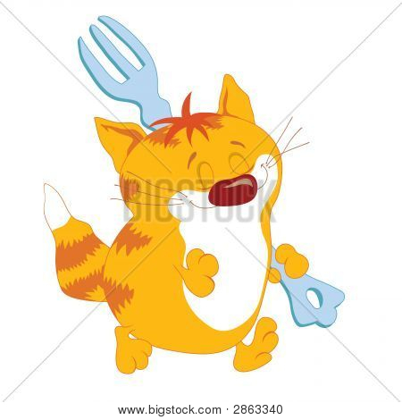 Red Cat With Fork
