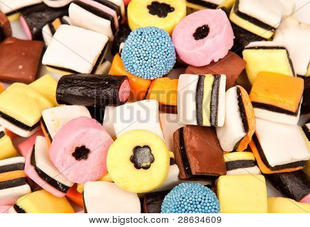 Liquirice Allsorts Lying On A Pile