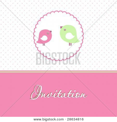 Cute vector background with two birds in love