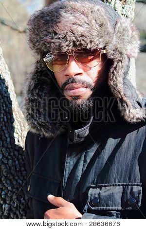 Woods man in winter
