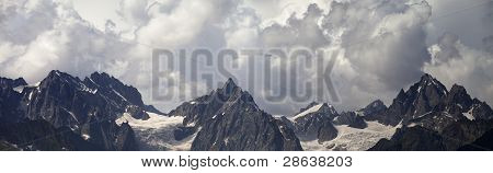 Panorama Caucasus Mountains In Clouds