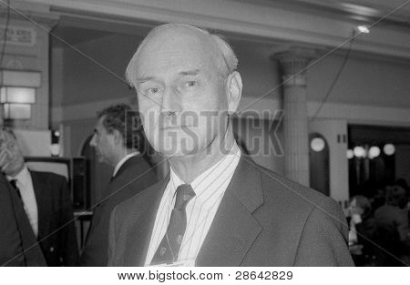 BLACKPOOL, ENGLAND - OCTOBER 10: Terence Higgins, Conservative party Member of Parliament for Worthing, attends the party conference on October 10, 1989 in Blackpool, Lancashire.