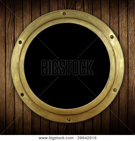 wood background with porthole