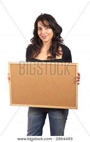 Casual Woman Holding The Empty Corkboar