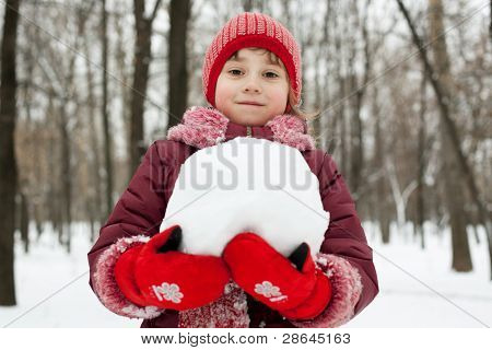 Little Girl With A Snowball In His Hands