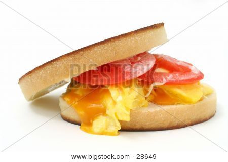 Close Up Of A Scrambled Egg And Cheese Sandwich