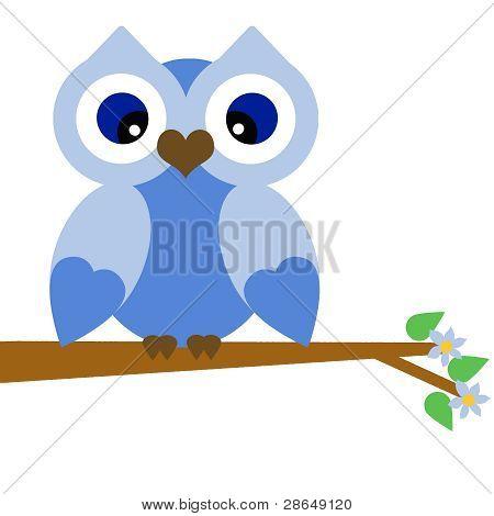 Vector Blue Summer Owl on a Branch