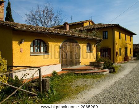 Traditional Country Farmhouse In Tuscany Italy