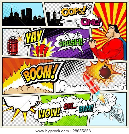 Comics Template Vector Retro Comic