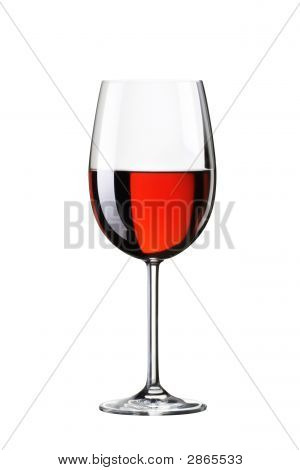 Glass With Red Wine. Isolated On White Background