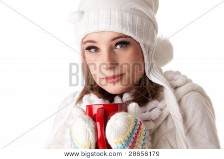 .young Woman With Red Cup.