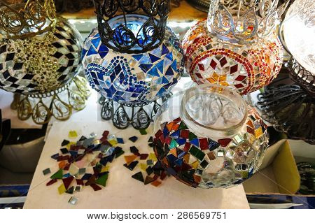 Colorful Turkish Lamps In The