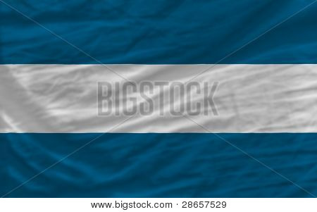 Complete Waved National Flag Of El Salvador For Background