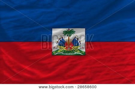 Complete Waved National Flag Of Haiti For Background