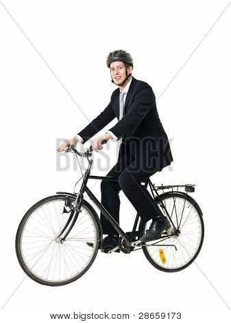 Man With Bicycle And Helmed